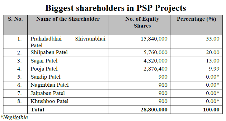Biggest shareholders in PSP Projects
