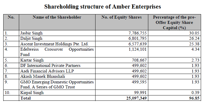 Shareholding structure of Amber Enterprises